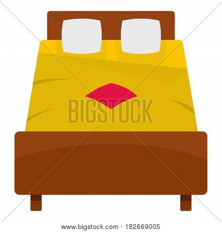 Bed with yellow blanket icon flat isolated on white background vector illustration