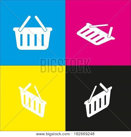 Shopping basket sign. Vector. White icon with isometric projections on cyan, magenta, yellow and black backgrounds.