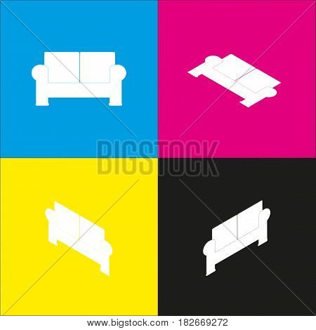 Sofa sign illustration. Vector. White icon with isometric projections on cyan, magenta, yellow and black backgrounds.