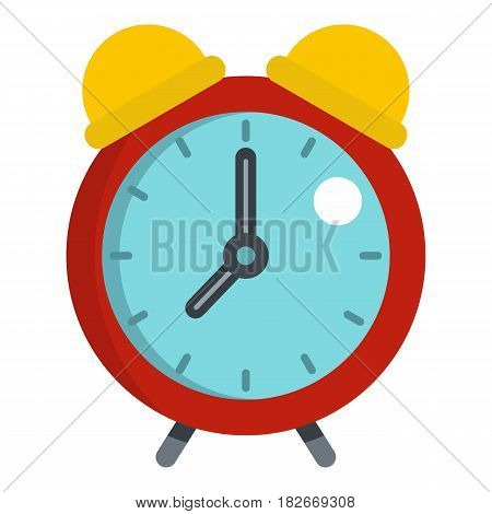 Red alarm clock icon flat isolated on white background vector illustration