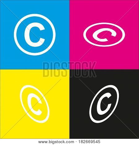 Copyright sign illustration. Vector. White icon with isometric projections on cyan, magenta, yellow and black backgrounds.