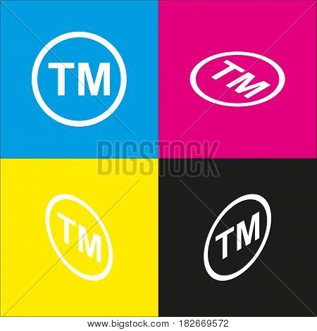 Trade mark sign. Vector. White icon with isometric projections on cyan, magenta, yellow and black backgrounds.