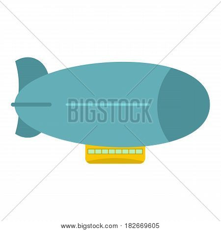Blue retro dirigible icon flat isolated on white background vector illustration