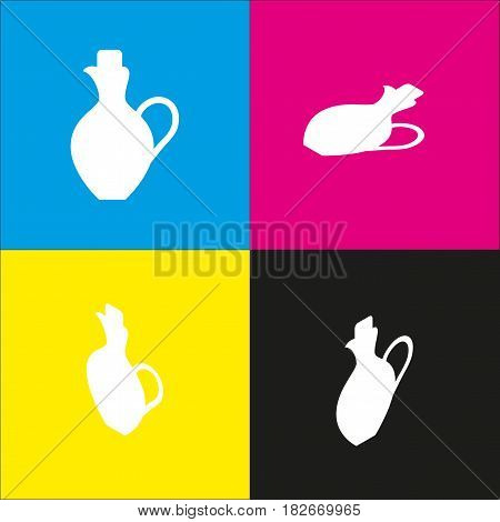 Amphora sign illustration. Vector. White icon with isometric projections on cyan, magenta, yellow and black backgrounds.