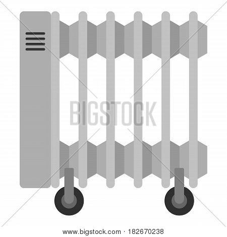 White electric heater on wheels icon flat isolated on white background vector illustration