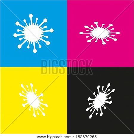 Virus sign illustration. Vector. White icon with isometric projections on cyan, magenta, yellow and black backgrounds.