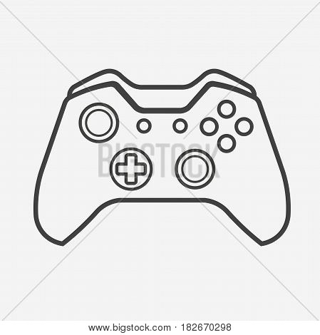 Outline Vector Gamepad. Joypad, Joystick Illustration Isolated on White Background