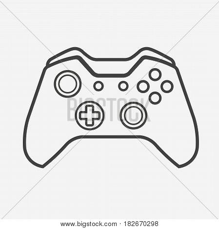 Outline Vector Gamepad. Joypad, Joystick Illustration Isolated on White Background
