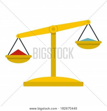 Justice scales icon flat isolated on white background vector illustration