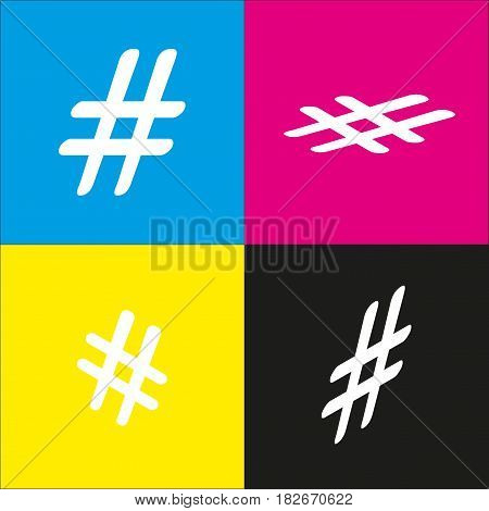 Hashtag sign illustration. Vector. White icon with isometric projections on cyan, magenta, yellow and black backgrounds.
