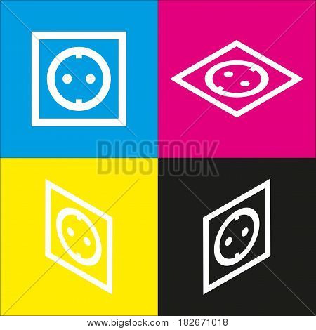Electrical socket sign. Vector. White icon with isometric projections on cyan, magenta, yellow and black backgrounds.