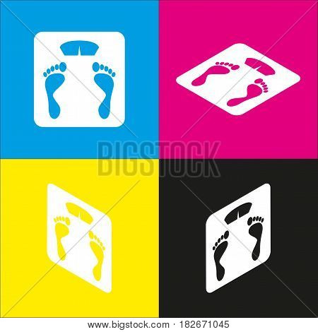 Bathroom scale sign. Vector. White icon with isometric projections on cyan, magenta, yellow and black backgrounds.