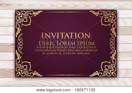 Invitation, cards with ethnic arabesque elements. Arabesque style design. Business cards. On wooden background eps10