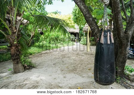 sandbag in tropical report for boxing class