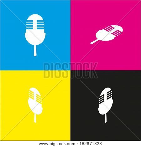 Retro microphone sign. Vector. White icon with isometric projections on cyan, magenta, yellow and black backgrounds.