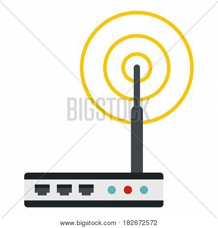 Wifi router icon flat isolated on white background vector illustration