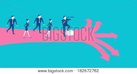 businesspeople with leadership concept on blue background