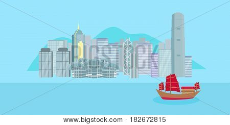 cute cartoon hongkong city on blue background