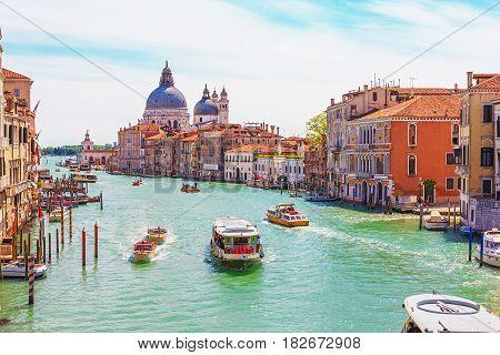 View of the Grand Canal and Basilica Santa Maria della Salute in Venice Italy