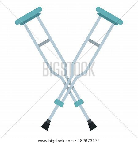 Crutches icon flat isolated on white background vector illustration