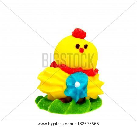 Yellow Easter Chicken decoration on a plain background