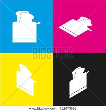 Toaster simple sign. Vector. White icon with isometric projections on cyan, magenta, yellow and black backgrounds.