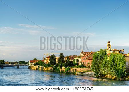 View Of Waterfront Of The Adige River From Ponte Navi, Verona