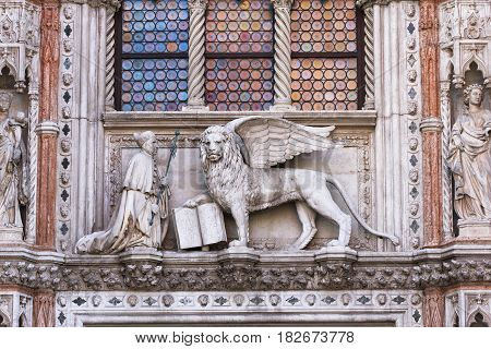 Porta della Carta of the Doges Palace in Venice Italy