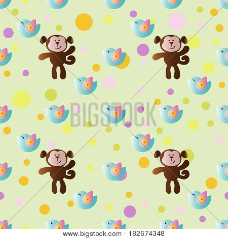 seamless pattern with cartoon cute toy baby monkey bird and Circles on a light green background