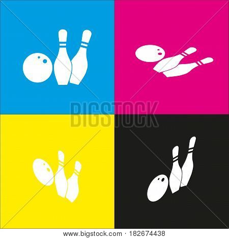 Bowling sign illustration. Vector. White icon with isometric projections on cyan, magenta, yellow and black backgrounds.