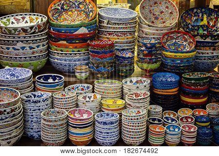 Ceramics store at Grand bazaar in Istanbul horizontal view