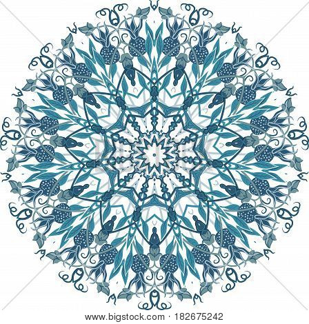 Drawing of a floral mandala in green blue and turquoise colors on a white background. Hand drawn tribal vector stock illustration