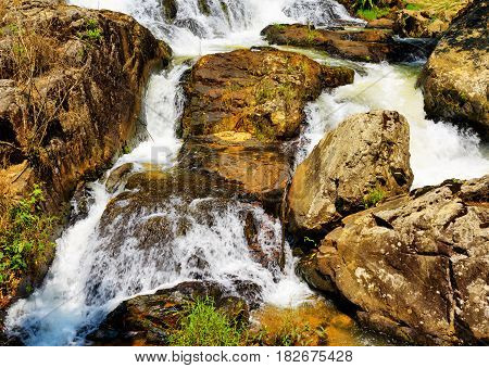 Close-up View Of A Cascade On The Datanla Waterfall In Da Lat Ci