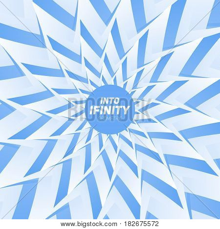 Into Infinity geometry. Abstract geometrical concentric blue swirl background. Sea shell like structures. Fractal swirl background. Concentric wrapping geometry.