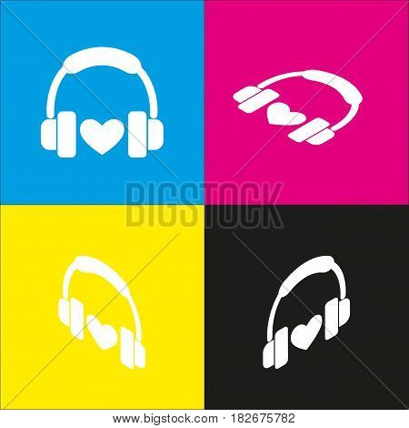 Headphones with heart. Vector. White icon with isometric projections on cyan, magenta, yellow and black backgrounds.
