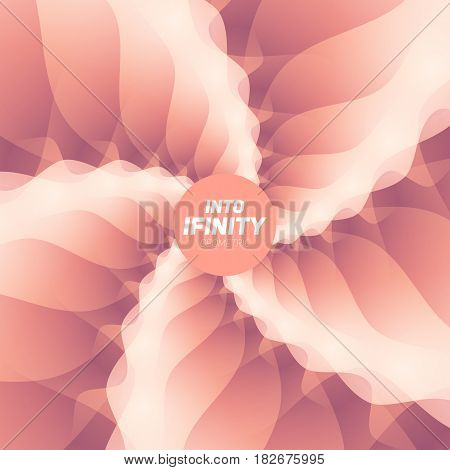 Into Infinity geometry. Abstract geometrical concentric light red swirl background. Sea shell like structures. Fractal swirl background. Concentric wrapping geometry. Colorful lollipop.
