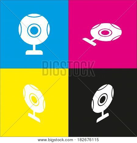 Chat web camera sign. Vector. White icon with isometric projections on cyan, magenta, yellow and black backgrounds.