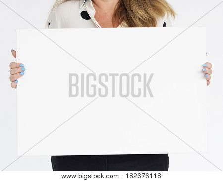 Female Holding White Blank Placard Concept