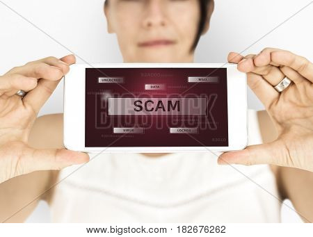 Woman holding digital device network graphic overlay