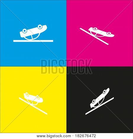 Crashed Car sign. Vector. White icon with isometric projections on cyan, magenta, yellow and black backgrounds.