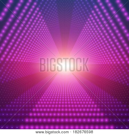 Vector infinite triangular tunnel of shining flares on violet background. Glowing points form tunnel sectors. Abstract cyber colorful background for your designs. Elegant modern geometric wallpaper.