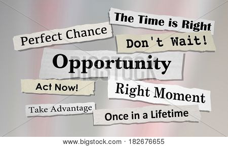 Opportunities Chance for Success News Headlines 3d Illustration