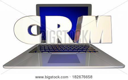 CRM Customer Relationship Management Software Laptop Computer 3d Illustration