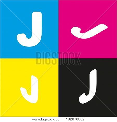 Letter J sign design template element. Vector. White icon with isometric projections on cyan, magenta, yellow and black backgrounds.
