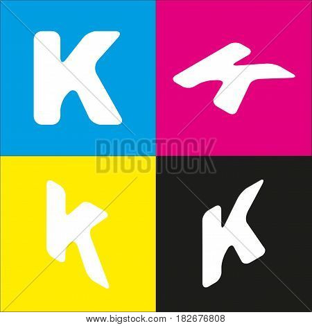 Letter K sign design template element. Vector. White icon with isometric projections on cyan, magenta, yellow and black backgrounds.