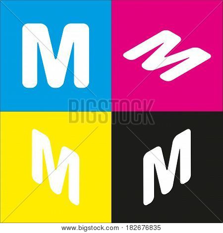 Letter M sign design template element. Vector. White icon with isometric projections on cyan, magenta, yellow and black backgrounds.