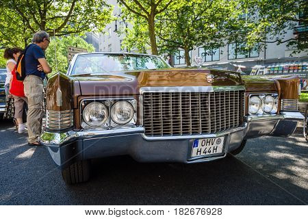 BERLIN - JUNE 05 2016: Full-size luxury car Cadillac De Ville convertible 1970. Classic Days Berlin 2016.