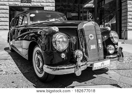 BERLIN - JUNE 05 2016: Full-size luxury car Mercedes-Benz 300D cabriolet (W186). Black and white. Classic Days Berlin 2016.