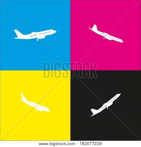 Flying Plane sign. Side view. Vector. White icon with isometric projections on cyan, magenta, yellow and black backgrounds.