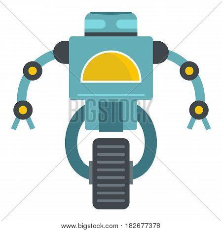 Blue cyborg on wheel icon flat isolated on white background vector illustration
